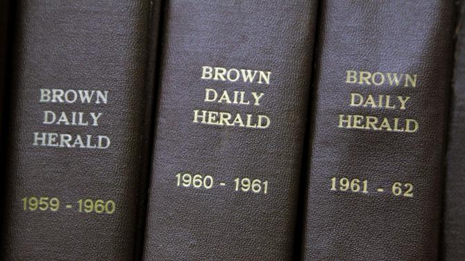 In this Feb. 2, 2012 photo, archived editions of the Brown University Herald used by Brown senior Malcolm Burnley, 22, sit on a shelf at the John Hay Library on campus in Providence, R.I. Burnley discovered a long-lost tape recording of a 1961 address by Malcolm X at Brown while Burnley was combing through archived editions of the Herald conducting research for a nonfiction writing class. (AP Photo/Stephan Savoia)