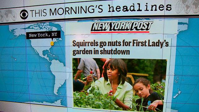 Headlines at 8:30: First lady's White House garden victim of government shutdown