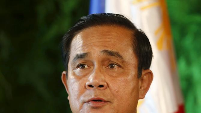 Visiting Thai Prime Minister General Prayuth speaks during a news conference in Manila