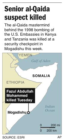 Map locates Mogadishu, Somalia, where a senior al-Qaida suspect has been killed