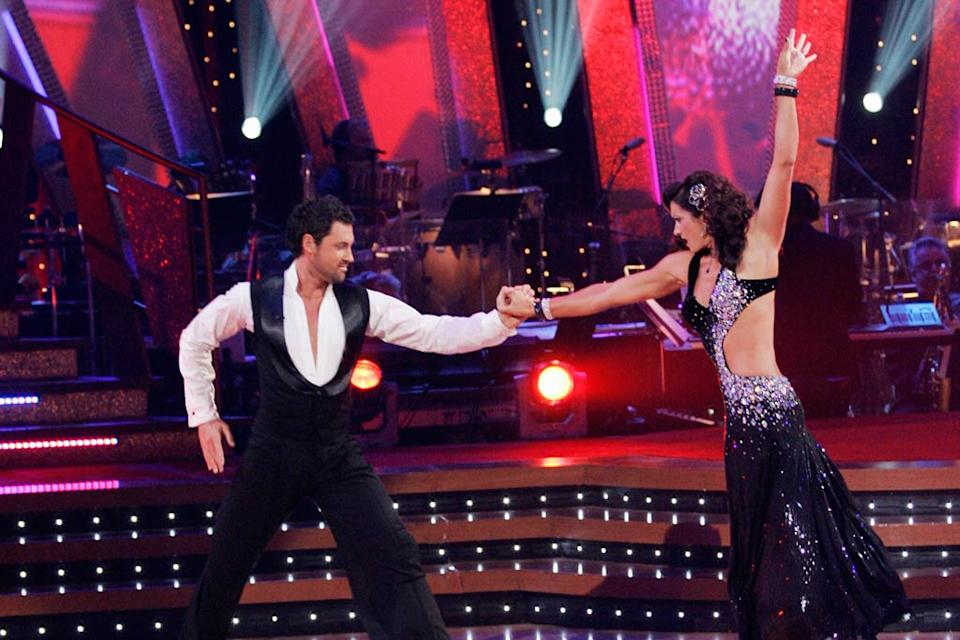 Maksim Chmerkovskiy and Misty May-Treanor perform a dance on the seventh season of Dancing with the Stars.