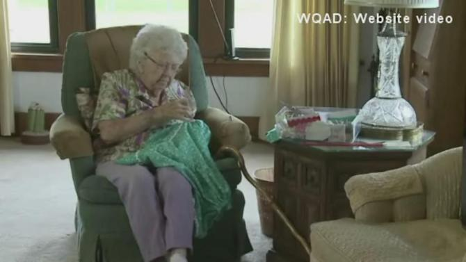 99-year-old woman making 1,000 dresses for charity