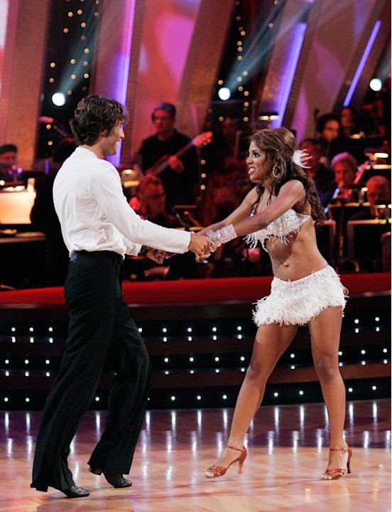 Alex Mazo and Toni Braxton perform a dance on the seventh season of Dancing with the Stars.