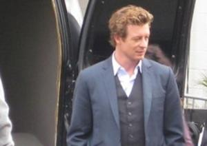 "Simon Baker (Patrick Jane) on the set of ""The Mentalist""."