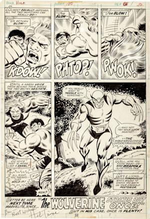 """This image released by Heritage Auctions shows original artwork that was used in the Marvel Comics' """"The Incredible Hulk"""" issue #150. The artwork, which shows the first appearance of Wolverine, will be auctioned in May in a sale that will benefit the Hero Initiative, the group that strives to aid comic book creators in times of financial need. Heritage Auctions says the artwork drawn by Herb Trimpe 40 years ago was long thought lost. Wolverine has become one of comics' enduring and best-known characters, appearing in several solo series and as a member of the X-Men and Avengers, too. (AP Photo/Heritage Auctions)"""