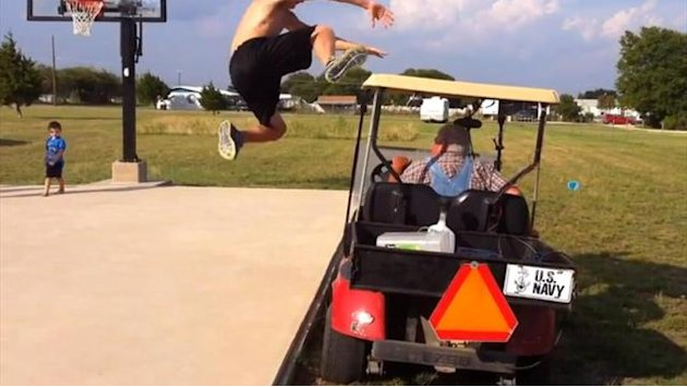 Almightly wedgie while jumping over golf cart