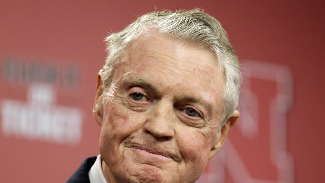FILE - In this Sept. 26, 2012 file photo, Nebraska athletic director Tom Osborne announces his retirement as of Jan. 1, 2013, during a news conference in Lincoln, Neb. Osborne's retirement ends an association with the university that began in 1962. (AP Photo/Nati Harnik, File)