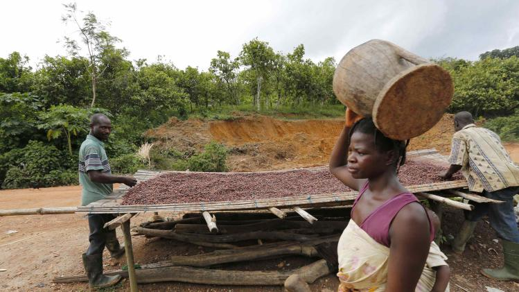 A woman walks past men working with cocoa beans in Enchi
