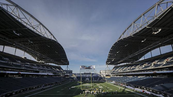 A general view of Investors Group Field is seen as the Eskimos take part in their team's practice ahead of the CFL's 103rd Grey Cup championship football game against the Ottawa Redblacks in Winnipeg