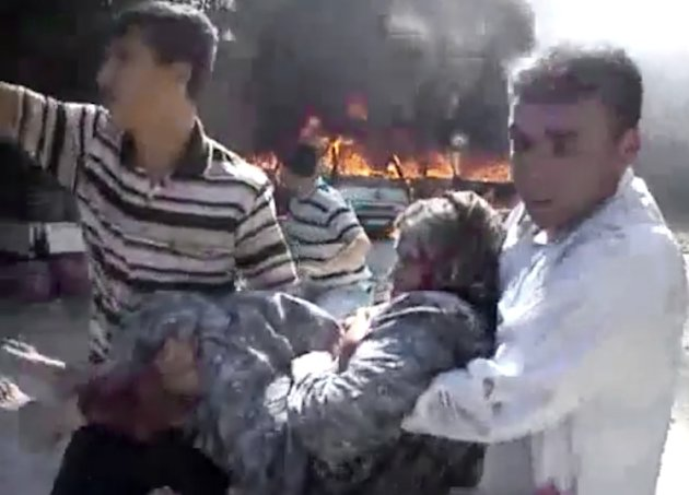 In this image made from amateur video released by the Shaam News Network and ...