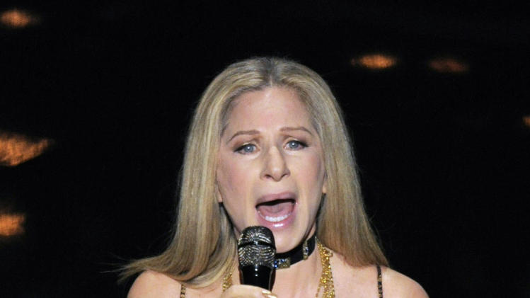 "Barbra Streisand performs ""Memories"" for the In Memoriam tribute during the Oscars at the Dolby Theatre on Sunday Feb. 24, 2013, in Los Angeles.  (Photo by Chris Pizzello/Invision/AP)"