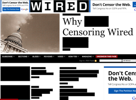 Wired protests SOPA.