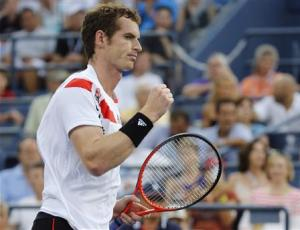 Andy Murray of Britain celebrates a point against Leonardo Mayer of Argentina at the U.S. Open tennis championships in New York