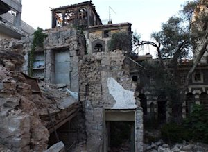 A general view shows damaged historical houses in the…