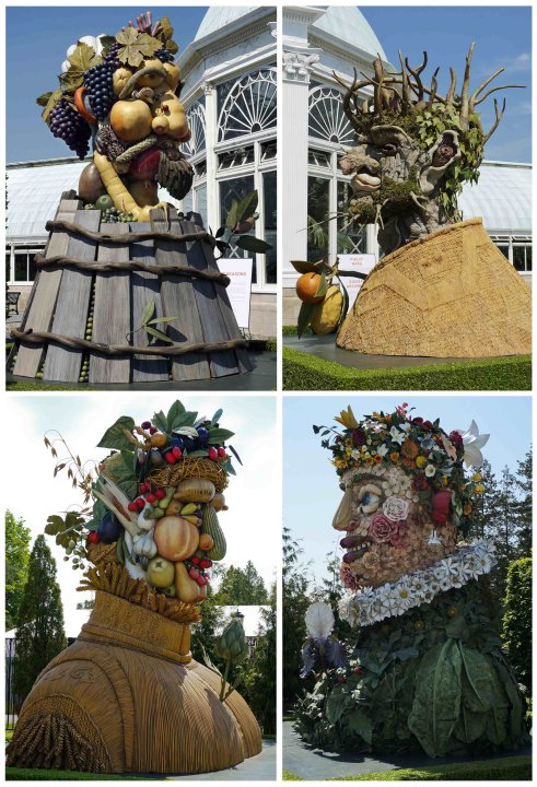 A combo photo of four sculptures of human heads representing the four seasons on display at New York Botanical Garden in New York