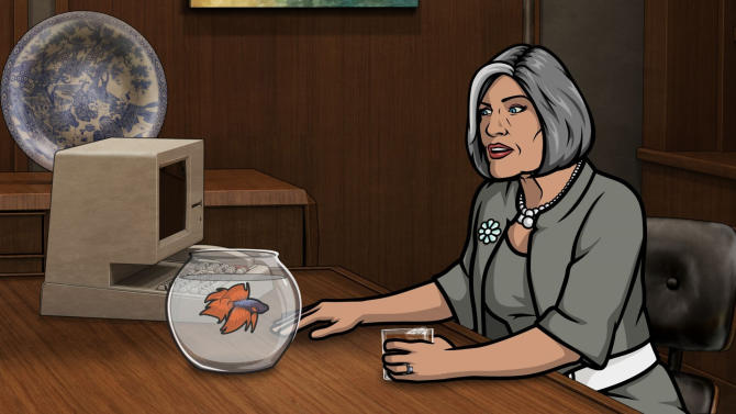 """This undated publicity photo provided by FX shows the character """"Malory Archer"""" as voiced by Jessica Walter, head of the International Secret Intelligence Service, in Episode 7, Season 4 (""""Live and Let Dine""""), Feb. 28, 2013, from the FX Network TV series, """"Archer."""" Even Walter, an Emmy-winning character actress, is surprised to find herself at a new professional peak, thanks to the Netflix revival of her sitcom """"Arrested Development"""" as well as the continued success of the animated FX cult favorite, """"Archer."""" The new season for """"Arrested Development"""" began Sunday, May 26, 2013. (AP Photo/FX)"""
