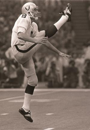 FILE - In this Jan. 25, 1981 file phot, Oakland Raiders punter Ray Guy kicks during the Super Bowl in New Orleans. Guy has become the first punter elected to the Pro Football Hall of Fame on Saturday Feb. 1, 2014. (AP Photo/File)