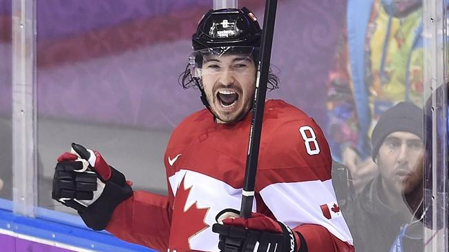 Canada defenceman Drew Doughty celebrates his goal against Finland during overtime preliminary hockey action at the 2014 Sochi Winter Olympics in Sochi, Russia on Sunday, February 16, 2014. THE CANADIAN PRESS/Nathan Denette