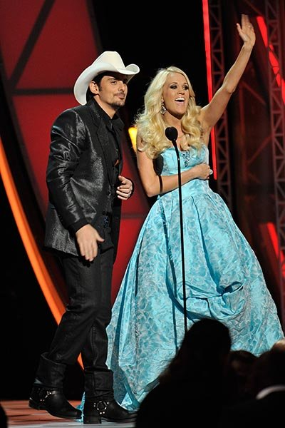 Carrie Underwood in a turquoise ball gown  This is our least favorite look of the night. It feels a little too…prom; don't you think?  Frederick Breedon/FilmMagic