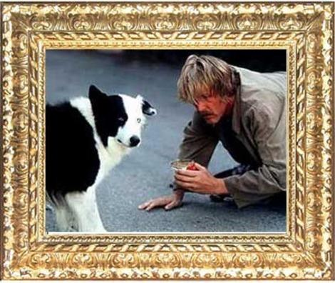 "Mike the Dog with Nick Nolte in ""Down and Out in Beverly Hills"""