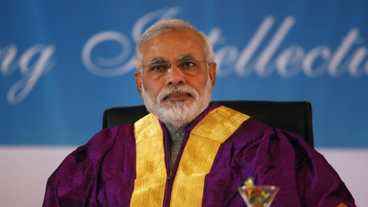 Gujarat's chief minister and Hindu nationalist Narendra Modi attends a convocation ceremony at PDPU at Gandhinagar