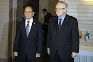 Myanmar's President Thein Sein (L) meets with former Finnish President and Nobel Peace Prize winner Martti Ahtisaari in Helsinki, on March 1, 2013. Ahtisaari said Friday he believed Myanmar's reformist government could win the Nobel Peace Prize, as Helsinki announced 6.5 million euros ($8.4 million) in development aid to the country
