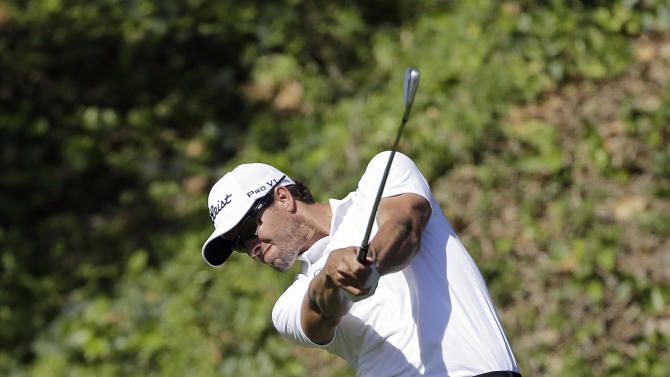 Adam Scott, of Australia, drives on the sixth tee in the second round of the Northern Trust Open golf tournament at Riviera Country Club in the Pacific Palisades area of Los Angeles Friday, Feb. 15, 2013. (AP Photo/Reed Saxon)