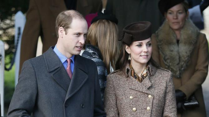 Britain's Prince William and his wife, Catherine, Duchess of Cambridge leave a Christmas Day morning service at the church on the Sandringham Estate in Norfolk, eastern England
