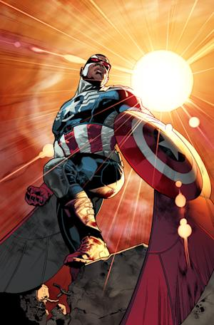 """This photo released by Marvel shows superhero Sam """"The Falcon"""" Wilson. Captain America will be an African-American. Marvel Comics' chief creative officer Joe Quesada says superhero Sam """"The Falcon"""" Wilson will take over as the patriotic Avenger in an upcoming installment of the long-running comic book series. (AP Photo/Marvel)"""