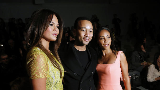Model Chrissy Teigen, singer John Legend and actress Jada Pinkett Smith pose together before the Vera Wang Autumn/Winter 2013 collection during New York Fashion Week