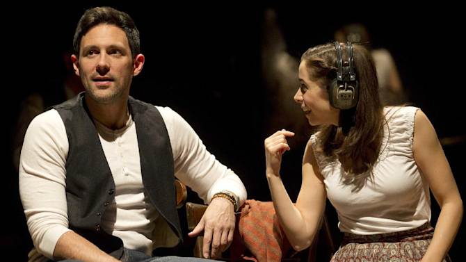 """In this theater image released by Boneau/Bryan-Brown, Steve Kazee, left, and Cristin Milioti are shown in a scene from """"Once,"""" in New York. The Tony Award-winning musical """"Once"""" has recouped its $5.5 million investment in less than six months, producers announced Monday, Aug. 13, 2012.  (AP Photo/Boneau/Bryan-Brown, Joan Marcus)"""