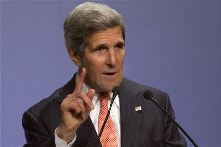U.S. Secretary of State Kerry speaks about climate change at India Habitat Center in New Delhi