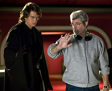 Hayden Christensen and writer/director George Lucas on the set of 20th Century Fox's Star Wars: Episode III