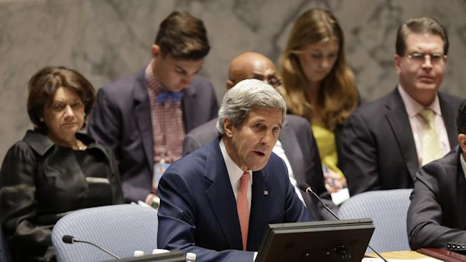 United States Secretary of State John Kerry speaks in a security council meeting at United Nations Headquarters in New York, Thursday, July 25, 2013. (AP Photo/Seth Wenig)