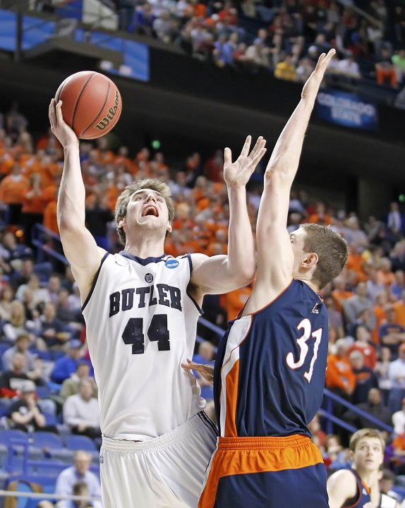 Butler's Smith shoots over Bucknell's Muscala during second half of their second round NCAA basketball game at the Rupp Arena in Lexington