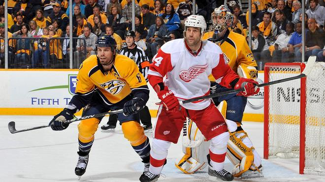 Shea Weber #6 Of The Nashville Predators And Todd Bertuzzi #44 Of The Detroit Red Wings Hold Their Positions In Front Getty Images