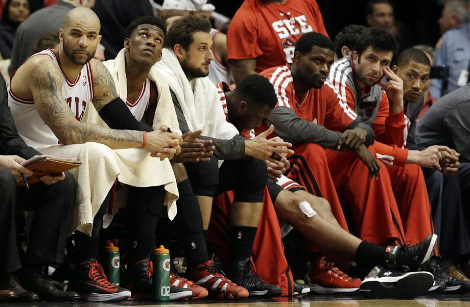 Chicago Bulls bench watch during the second half of Game 4 of an NBA basketball playoffs Eastern Conference semifinal against the Miami Heat on Monday, May 13, 2013, in Chicago. The Heat won 88-65. (AP Photo/Nam Y. Huh)