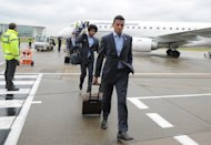LONDON, ENGLAND - MAY 24:  In this handout provided by UEFA, Dante and Luiz Gustavo of FC Bayern Munich arrive with their team-mates at London City Airport on the eve of the UEFA Champions League Final on May 24, 2013 in London, United Kingdom.  (Photo by Handout/UEFA via Getty Images)