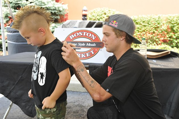 Pro skateboarder Ryan Sheckler meets with fans at Boston Market during an event benefiting The Sheckler Foundation on Thursday, Aug. 23, 2012 in North Arlington, N.J. (Photo by Charles Sykes/Invision