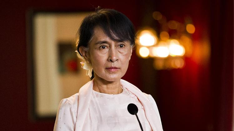 Myanmar opposition leader Aung San Suu Kyi at a press conference in Oslo, Friday, June 15, 2012. Suu Kyi formally accepts the Nobel Peace Prize on Saturday June 16, 2012, in the Norwegian capital. (AP Photo / Vegard Groett / NTB scanpix) NORWAY OUT