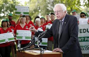 Sanders gives a news conference at the Capitol in  …