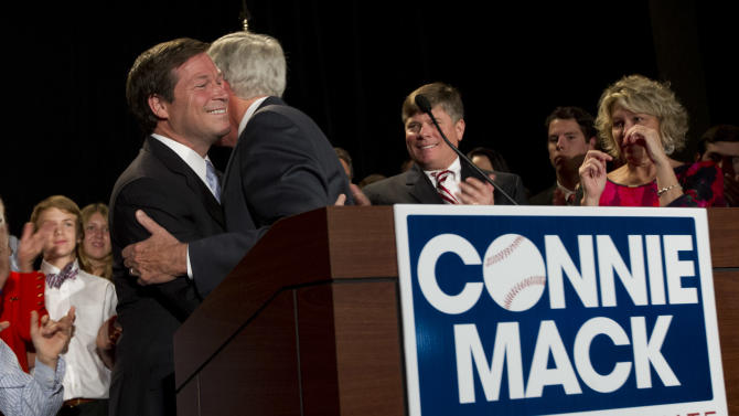 U.S. Rep. Connie Mack, R-Fla., left, hugs his father, Connie Mack III, before he speaks to the media and supporters at his watch party in Bonita Springs, Fla. Tuesday, Nov. 6, 2012, where he conceded the senate race to Bill Nelson.  (AP Photo/J Pat Carter)
