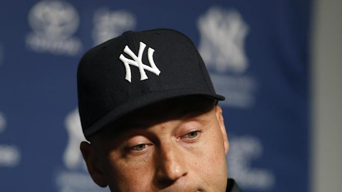 New York Yankees' Derek Jeter pauses before answering a question about the fracture in his left ankle during a news conference before a baseball game against the Toronto Blue Jays at Yankee Stadium in New York, Thursday, April 25, 2013. (AP Photo/Kathy Willens)