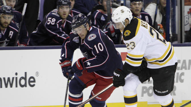 Columbus Blue Jackets' Jack Skille, left, carries the puck upice as Boston Bruins' Chris Kelly defends during the second period of an NHL hockey game Friday, Nov. 21, 2014, in Columbus, Ohio. (AP Photo/Jay LaPrete)