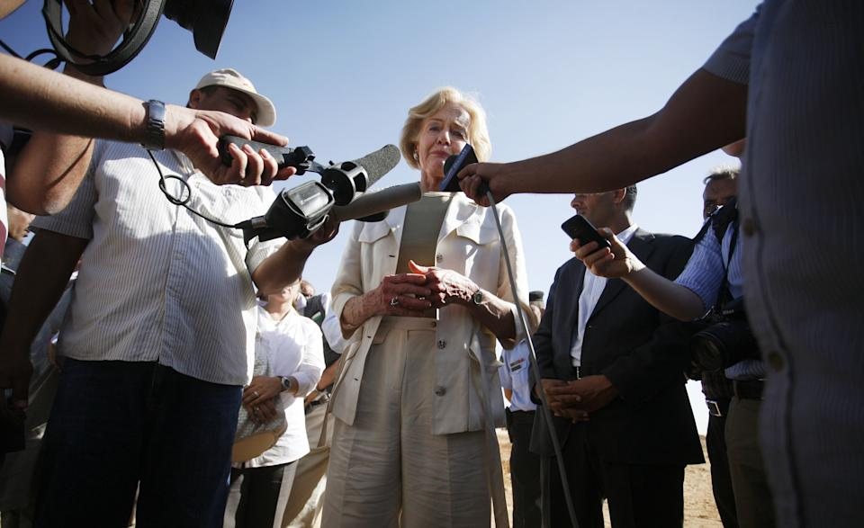 Quentin Bryce, the Australian Governor-General, reacts as she speaks to the press about her observation of Syrian refugees living in the Zaatari Refugee Camp, in Mafraq, Jordan, Sunday, Sept. 2, 2012. Bryce mentioned that Australia has contributed 20 million in funds to support the refugees. (AP photo/Mohammad Hannon)