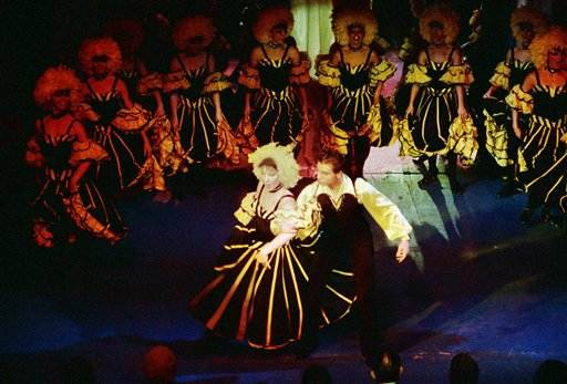 Members of the Folies Bergere perform at the Limelight night club in Chicago, Nov. 19, 1986. It's the first time the famous Paris show group has gone on tour outside of France. (AP Photo/Fred Jewell)