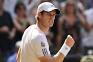 Britain's Andy Murray celebrates winning a point against Serbia's Novak Djokovic in the men's singles final on day thirteen of the 2013 Wimbledon Championships at the All England Club in Wimbledon, southwest London, on July 7, 2013. Djokovic and Murray have now contested three of the last four Grand Slam finals