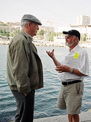 Michael Caine and director Norman Jewison on the set of Sony Pictures Classics' The Statement