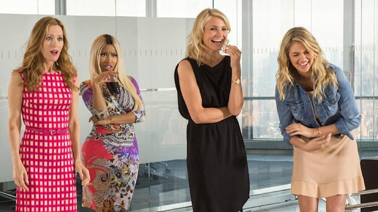 "This image released by 20th Century Fox shows Leslie Mann, from left, Nicki Minaj, Cameron Diaz and Kate Upton in a scene from ""The Other Woman."" (AP Photo/20th Century Fox, Barry Wetcher)"