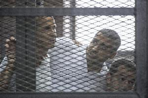 Al Jazeera journalists Peter Greste (left), Mohamed …